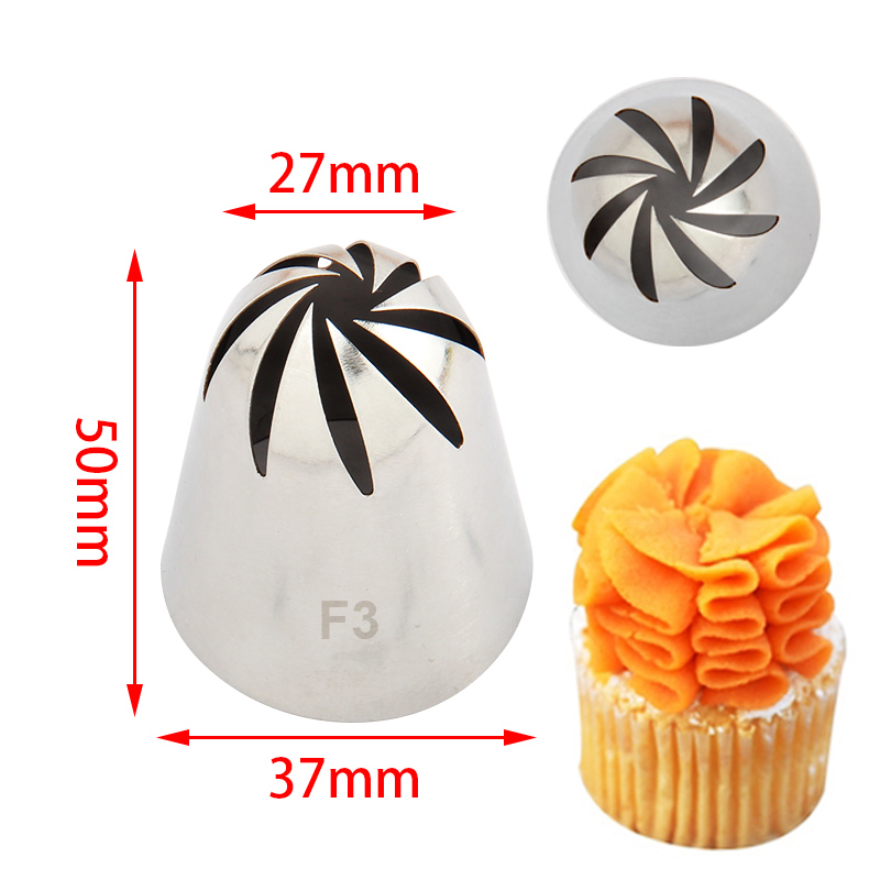 S/S Cake Decorating Large 8Teeth Drop Flower Nozzle #F3