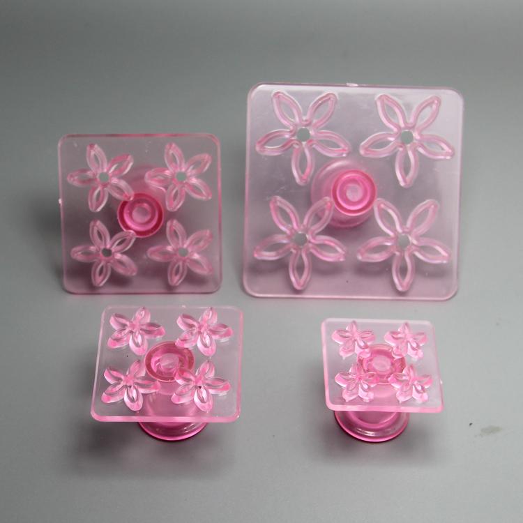 HB0753 Plastic 4pcs 5petals daisy impressing embosser mold set chocolate mold