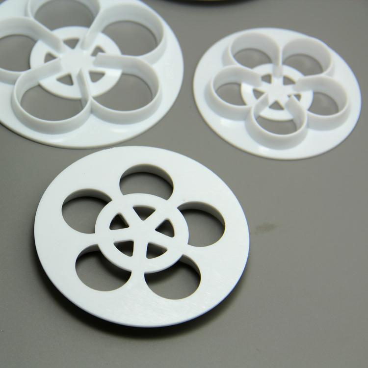 HB0765 Plastic 6pcs hollow roses cookie cutter set