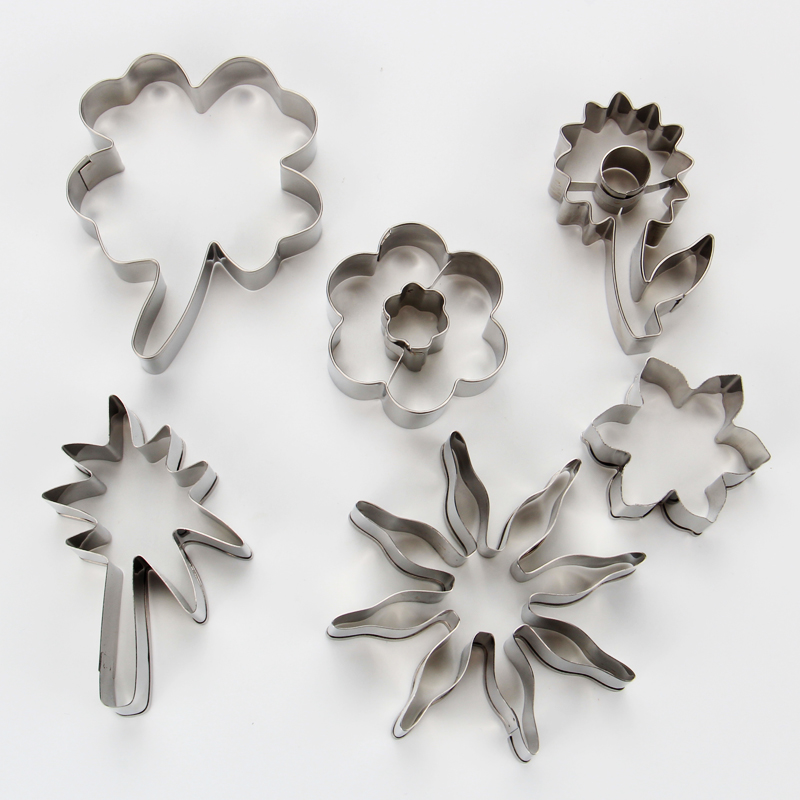 HB1082  Stainless steel 6pcs Different flowers and leaves cookie cutters set