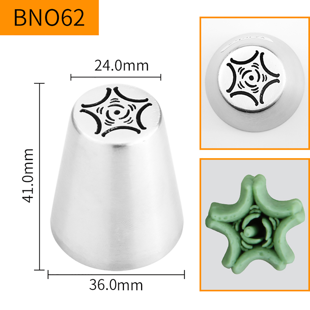 HBBNO62 FDA High Quality Stainless steel 304 Cake Decorating Flower Icing Nozzle