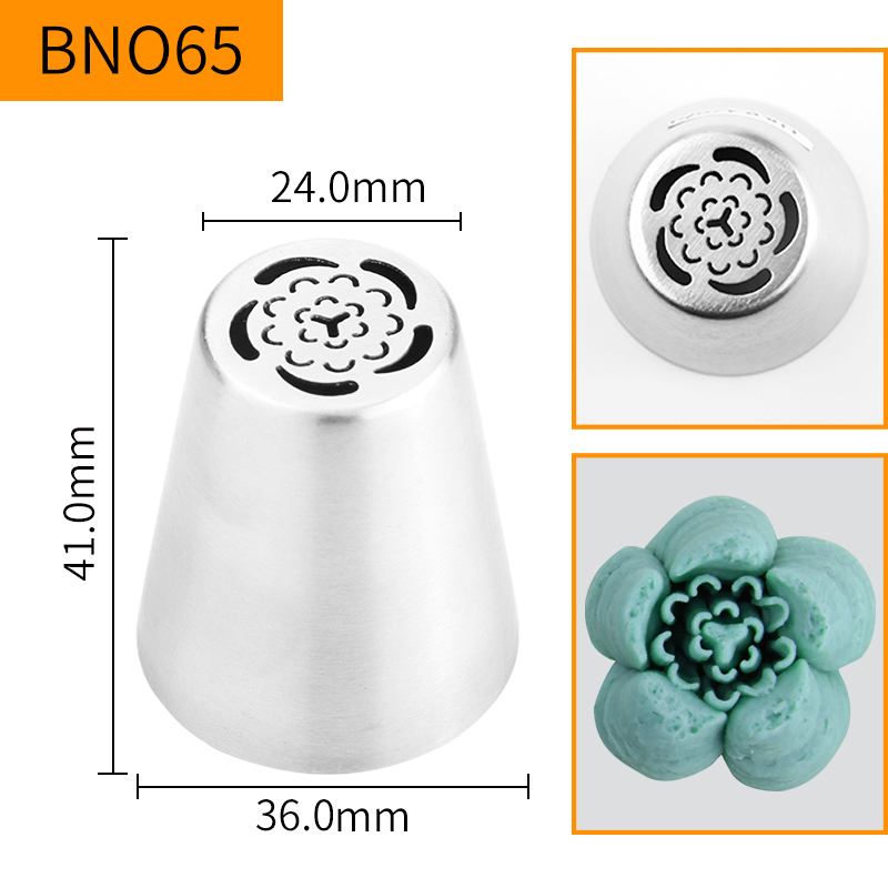 HBBNO65 FDA High Quality Stainless steel 304 Cake Decorating Flower Icing Nozzle