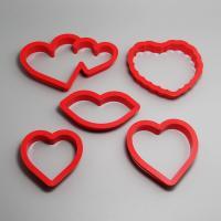 HB0202 5pcs Plastic Heart Shape cookie cutters set