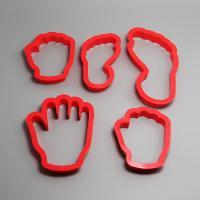 HB0204 5pcs Plastic Hands&Feet shape cookie cutters set