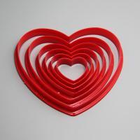 HB0211 Plastic 6pcs Heart shape cookie cutters set cake chocolate decoration set