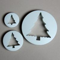 HB0466 3pcs Christmas Tree Press Cookie Cutter chocolate mold fondant embosser