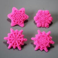 HB0953 4pcs plastic flower fondant embosser decoration mold set