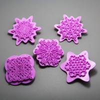 HB0973 5pcs plastic flower cake stamp/Fondant Mold set