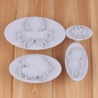 HB1043  4pcs Marine subjects cookie plunger cutters set