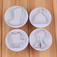 HB1050   4pcs Gloves, hats, scarves,shoes cookie plunger cutters set